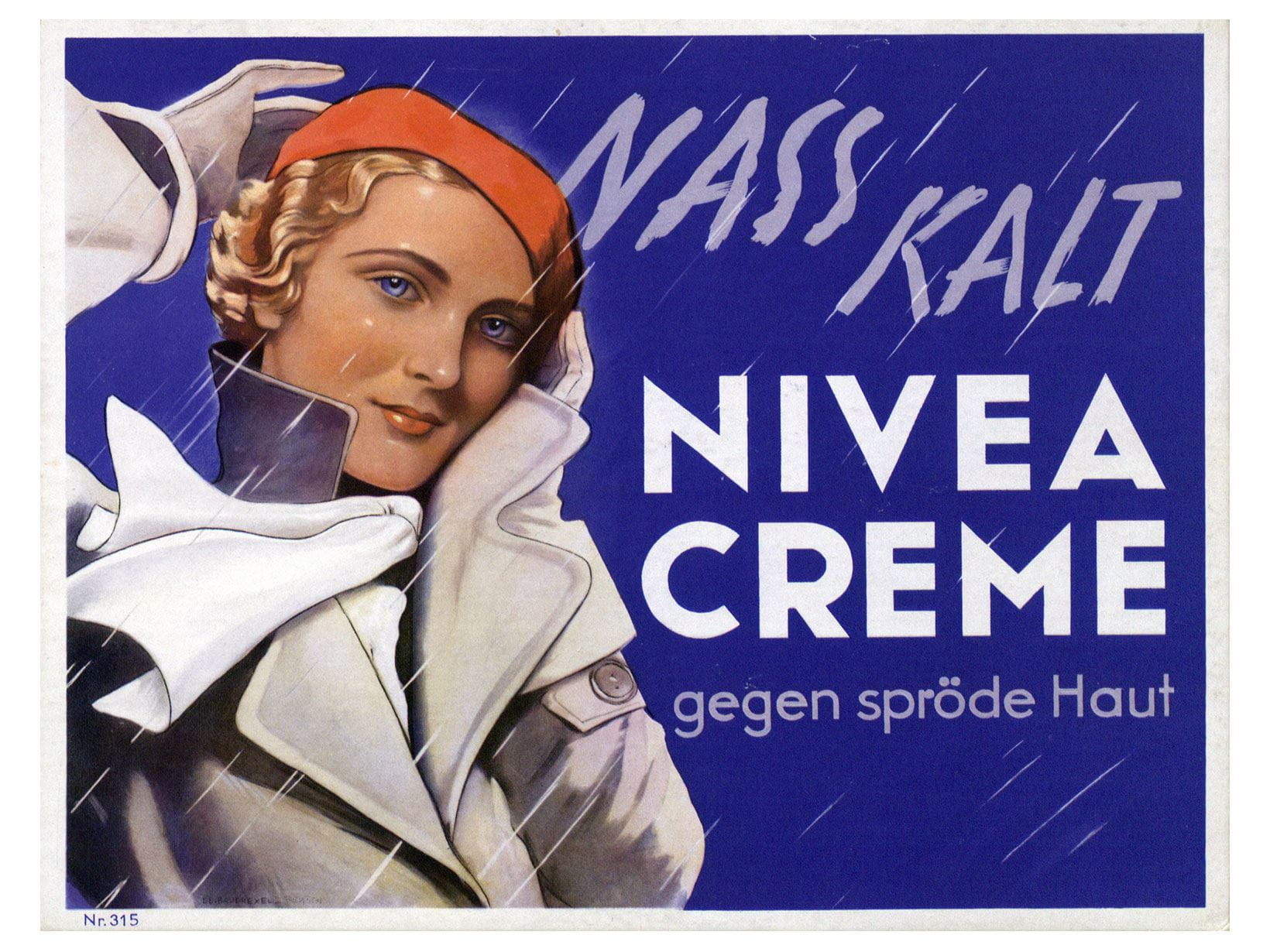 NIVEA advertising poster from 1935: NIVEA Creme for rough skin